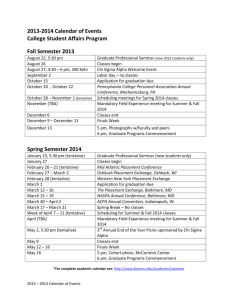 2013-2014 Calendar of Events College Student Affairs Program Fall