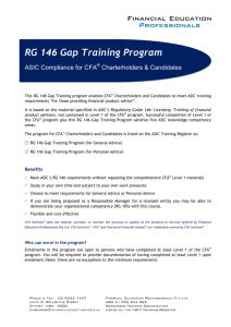 RG 146 Gap Training Program