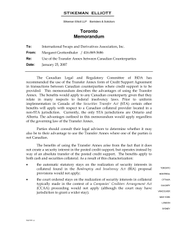 Memorandum outlining the benefits of use of the Transfer Annex
