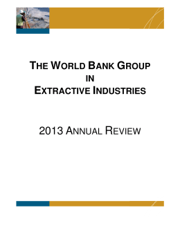 World Bank Group in Extractive Industries - 2013 Annual Review