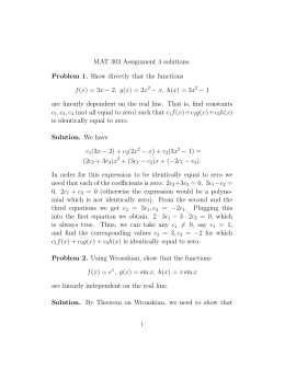 MAT 303 Assignment 4 solutions. Problem 1. Show directly that the