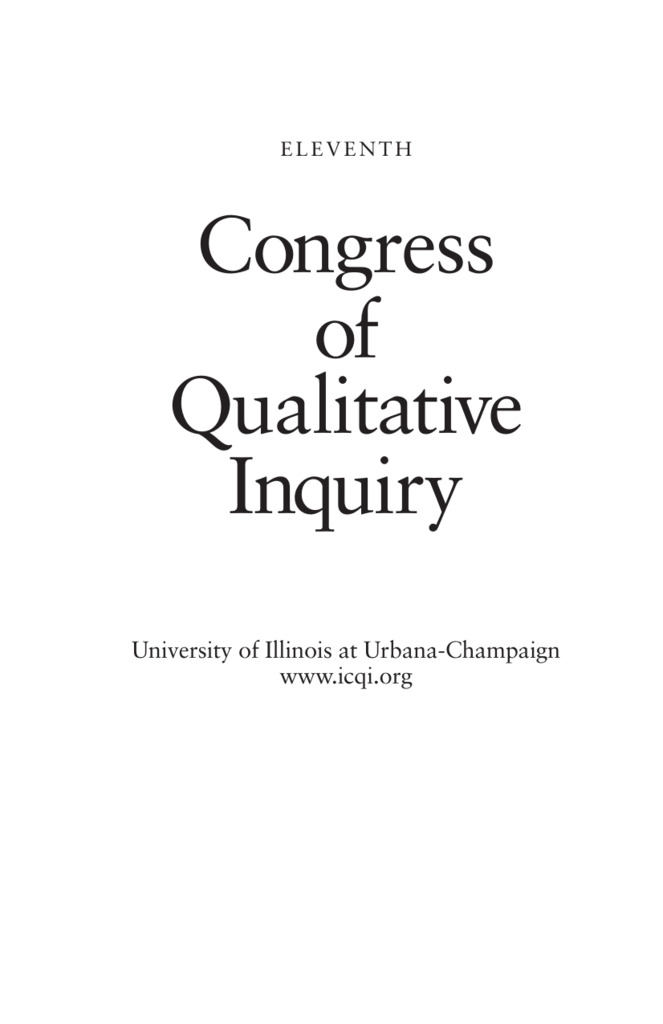 International Congress Of Qualitative Inquiry