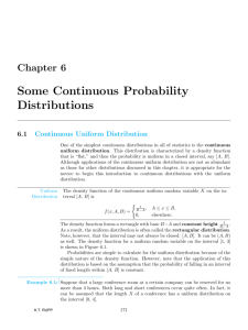 Chapter 6 Some Continuous Probability Distributions