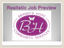 Realistic Job Preview for Brandi's Hope
