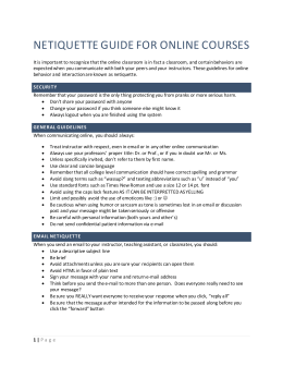 UFL Netiquette Guide for Online Courses