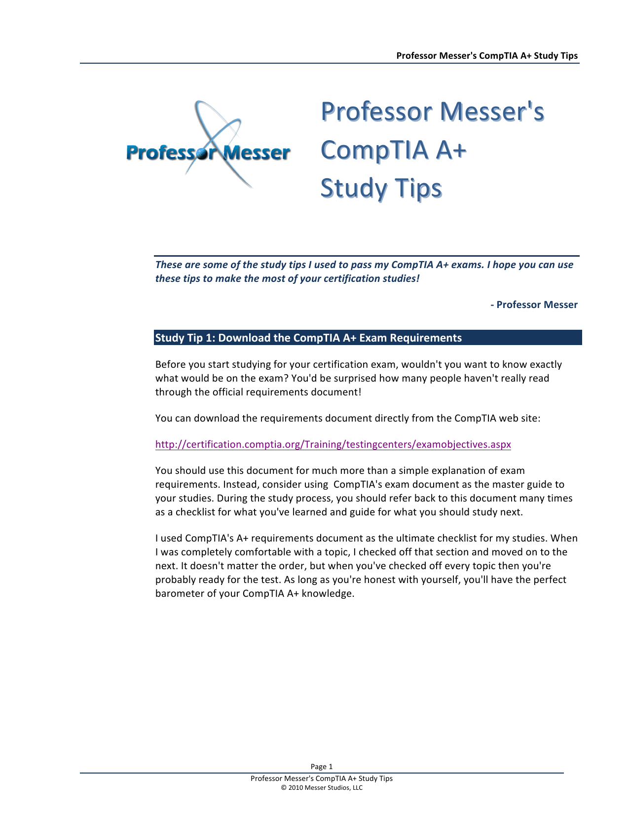 To Professor Messers Comptia A Study Tips
