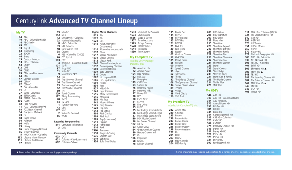 centurylink advanced tv channel lineup rh studylib net Motorola TV Guide Spanish TV Guide