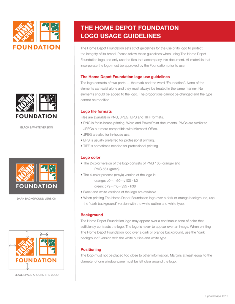 The Home Depot Foundation Logo Usage Guidelines