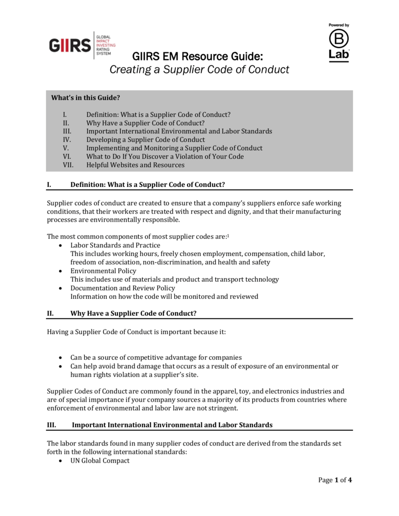 creating a supplier code of conduct