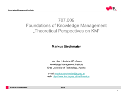 "707.009 Foundations of Knowledge Management ""Theoretical"