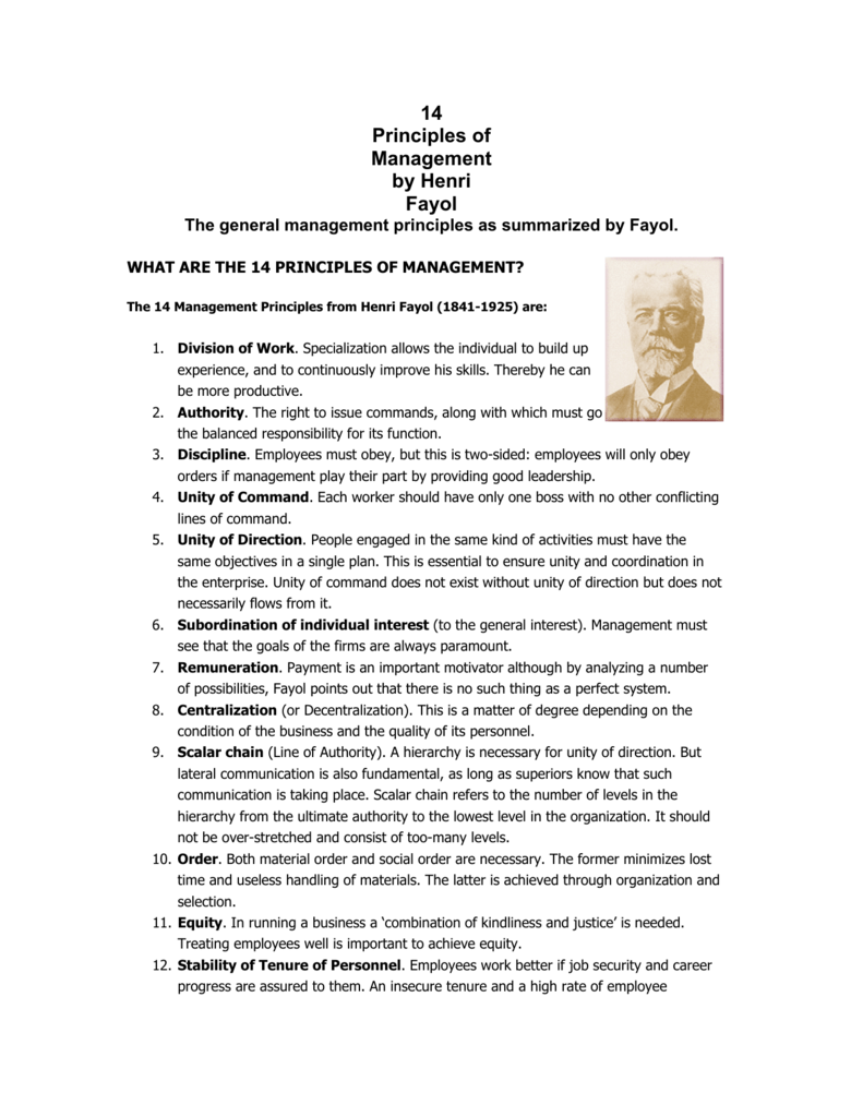 14 principles of management by fayol