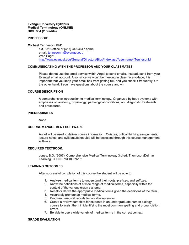 Evangel University Syllabus Medical Terminology (ONLINE) BIOL