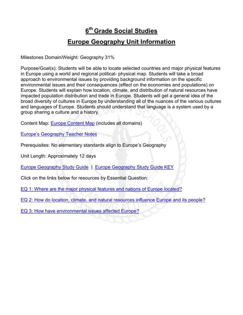 6 Grade Social Studies Europe Geography Unit Information