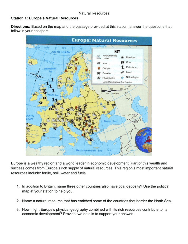 europe natural resources map Natural Resources Station 1: Europe's Natural Resources Directions