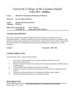 University College of the Cayman Islands FALL 2011—Syllabus