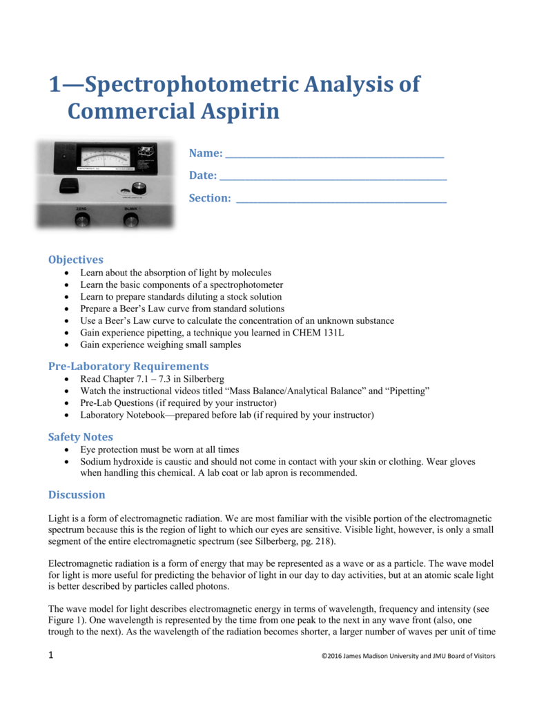 determination of aspirin by spectrophotometric analysis lab report