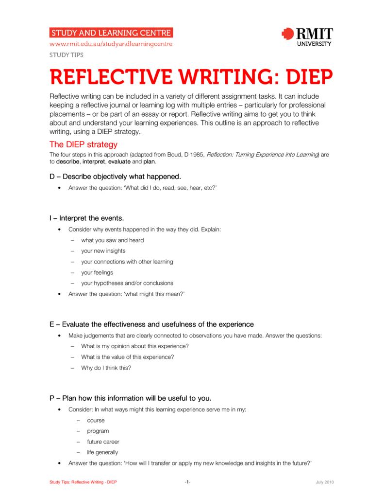 REFLECTIVE WRITING: DIEP