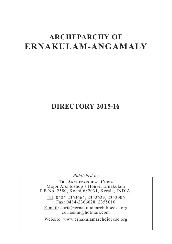Directory 2015 16 Archdiocese Of Ernakulam