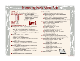 Interesting Facts about Acts