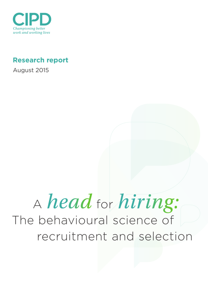 cipd recruitment and selection