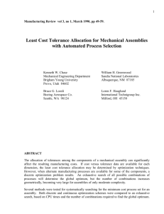 Least Cost Tolerance Allocation for Mechanical Assemblies