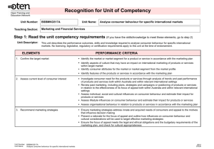 Recognition for Unit of Competency