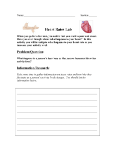 Heart Rates Lab - Mr. Jones's Science Class
