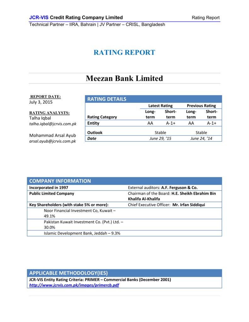 Meezan Bank Limited - JCR-VIS Credit Rating Co  Ltd