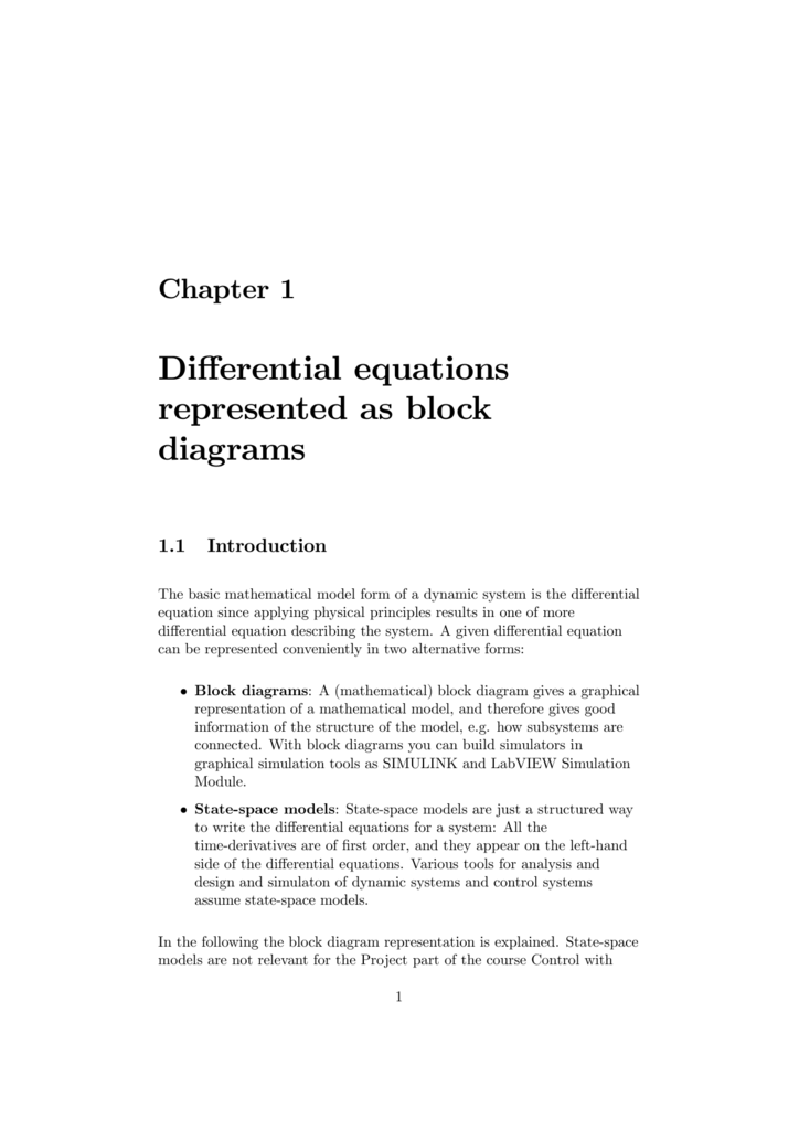 Differential Equations Represented As Block Diagrams