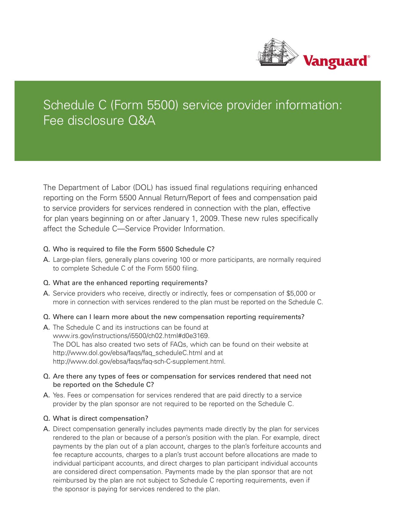 Schedule C Form 5500 Service Provider