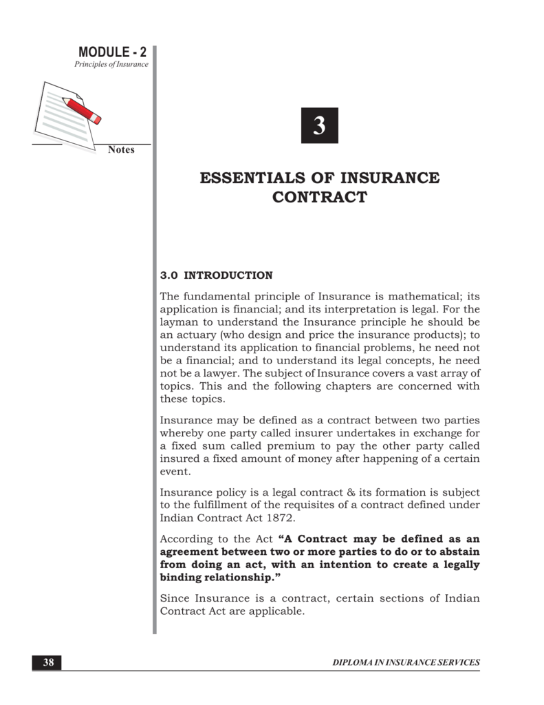 Essentials Of Insurance Contract