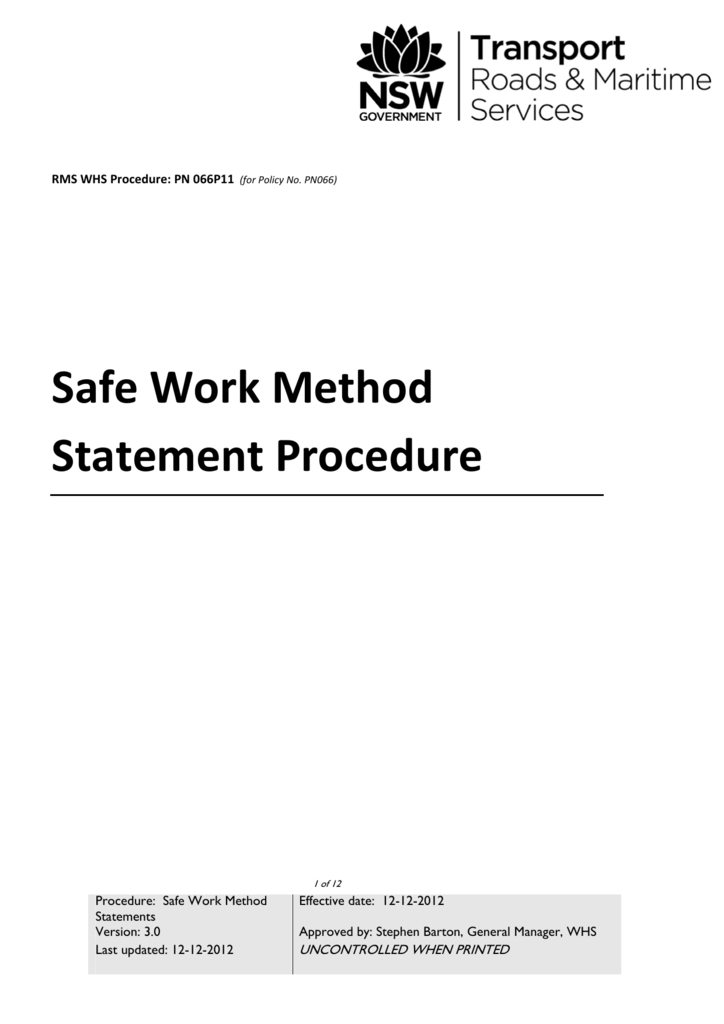 Safe Work Method Statement Procedure