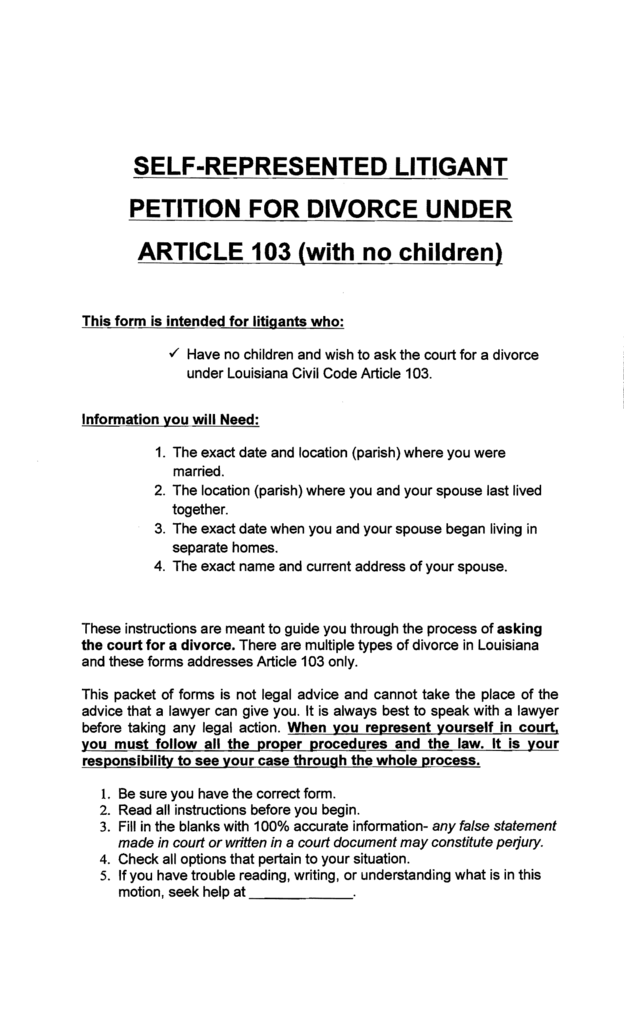 Self represented litigant petition for divorce under solutioingenieria Image collections