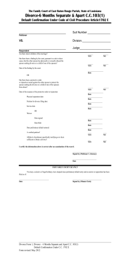 Divorce Form 1 – Default confirmation for 103