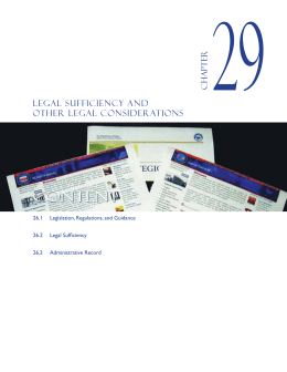 Chapter 29 Legal Sufficiency and Other Legal Considerations
