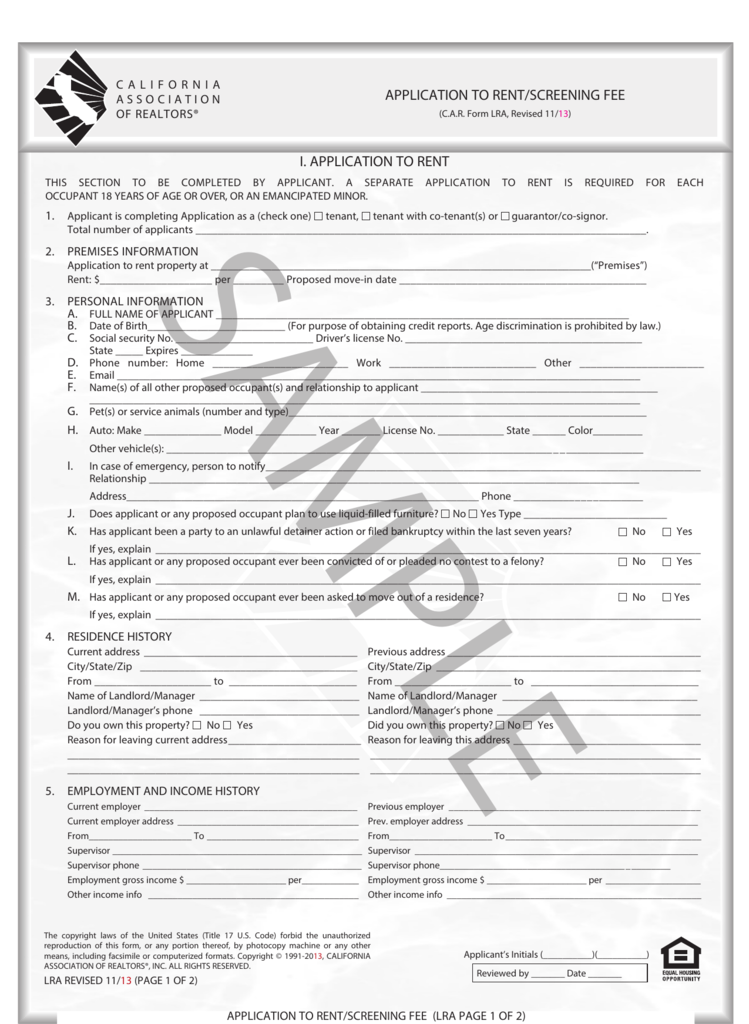 application to rent/screening fee i. application to rent