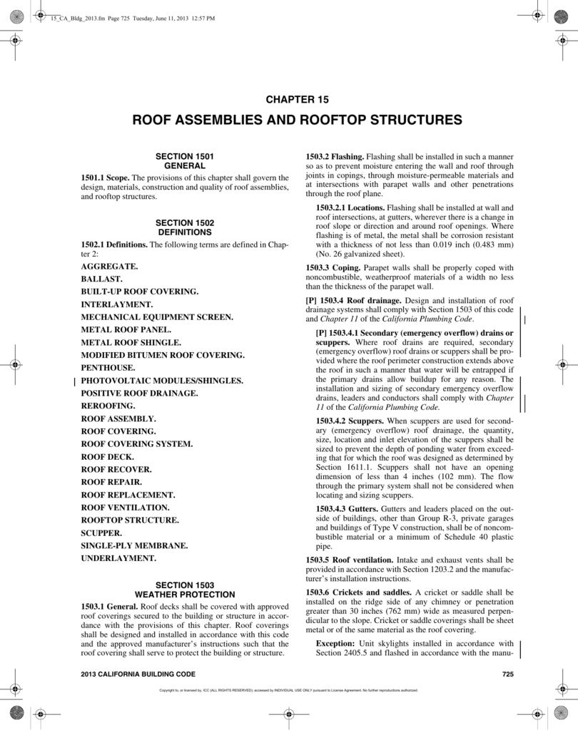 Chapter 15 - Roof Assemblies and Rooftop Structures