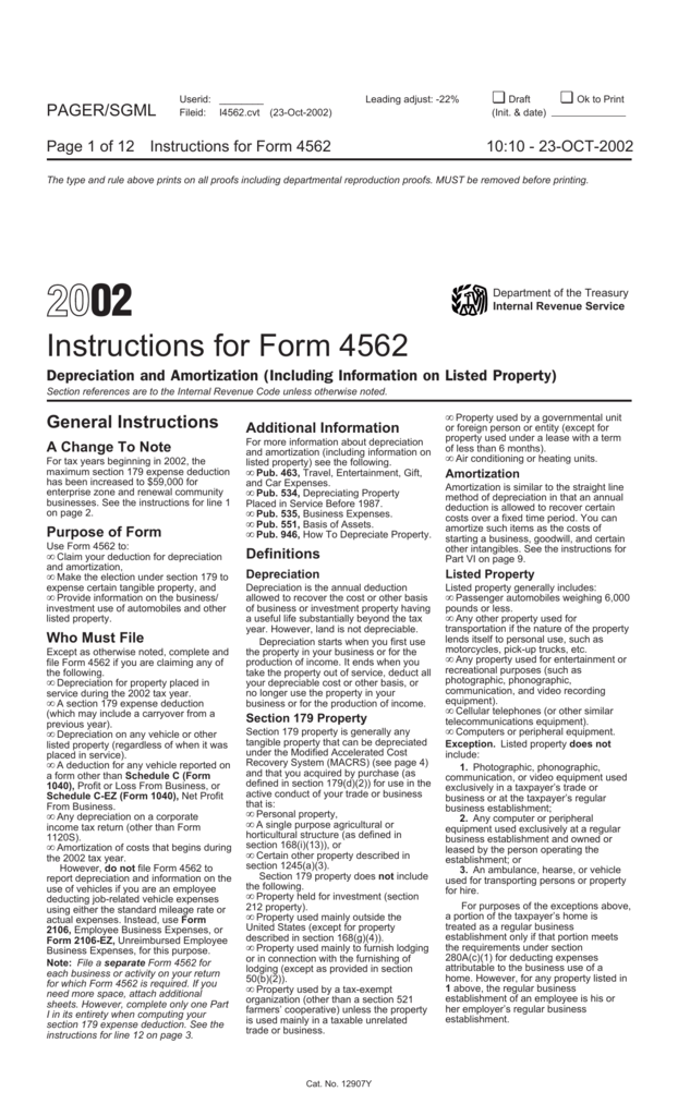 2002 Instructions For Form 4562