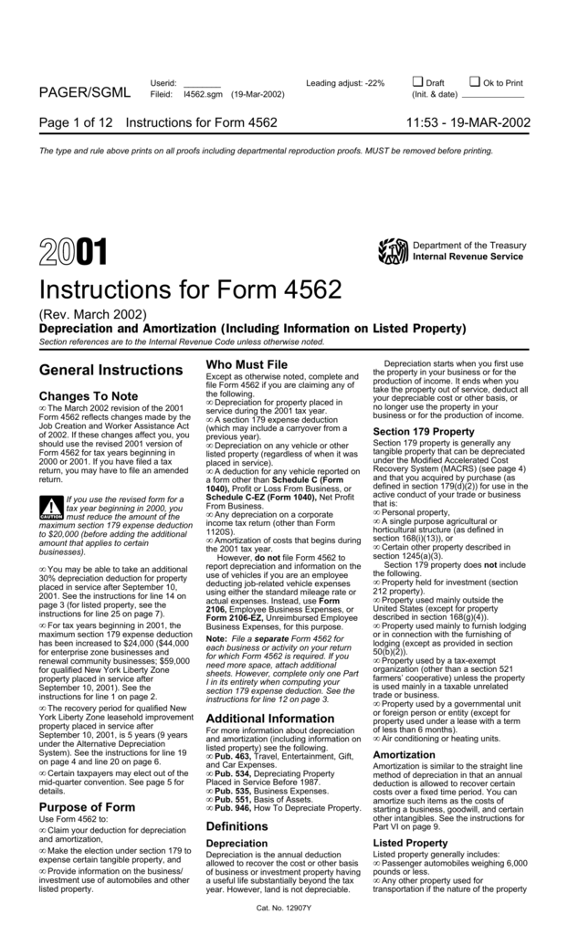 Form 4562 Instructions