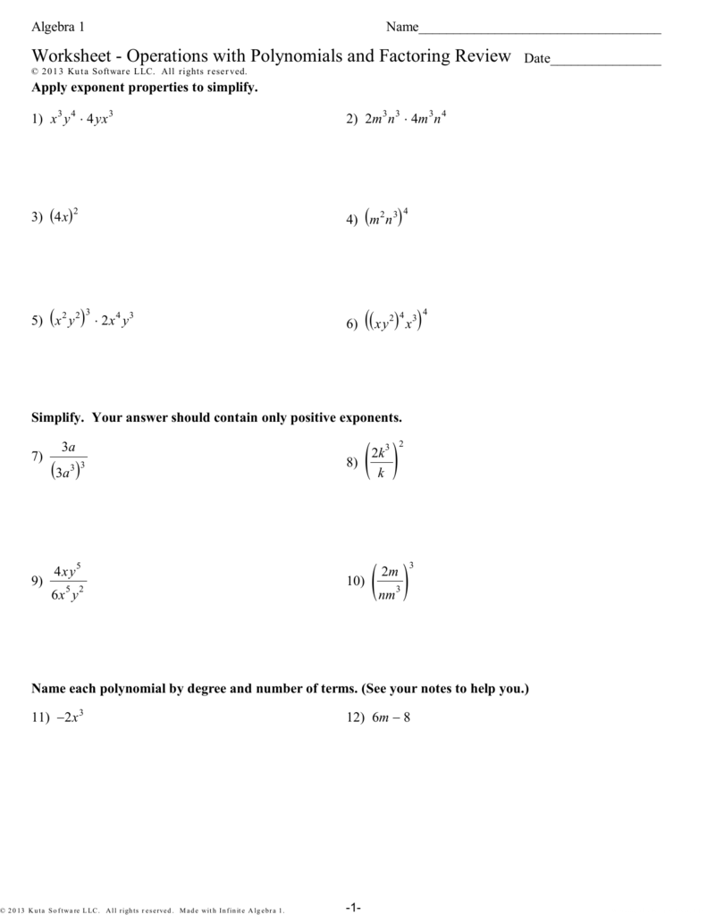 Worksheet Operations with Polynomials and – Operations with Polynomials Worksheet