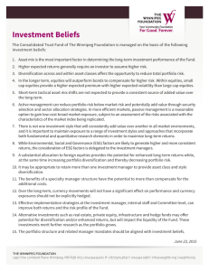 Investment Beliefs - The Winnipeg Foundation