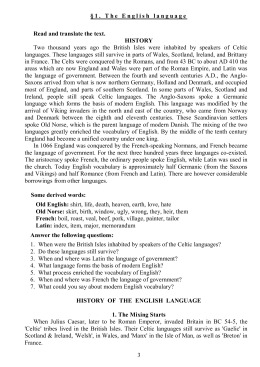 3 § 1 . T he E nglishlanguage Read and translate the text. HISTORY