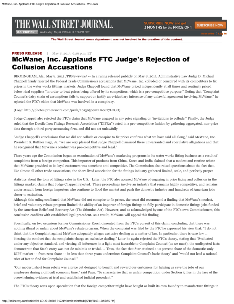 McWane, Inc  Applauds FTC Judge's Rejection of Collusion