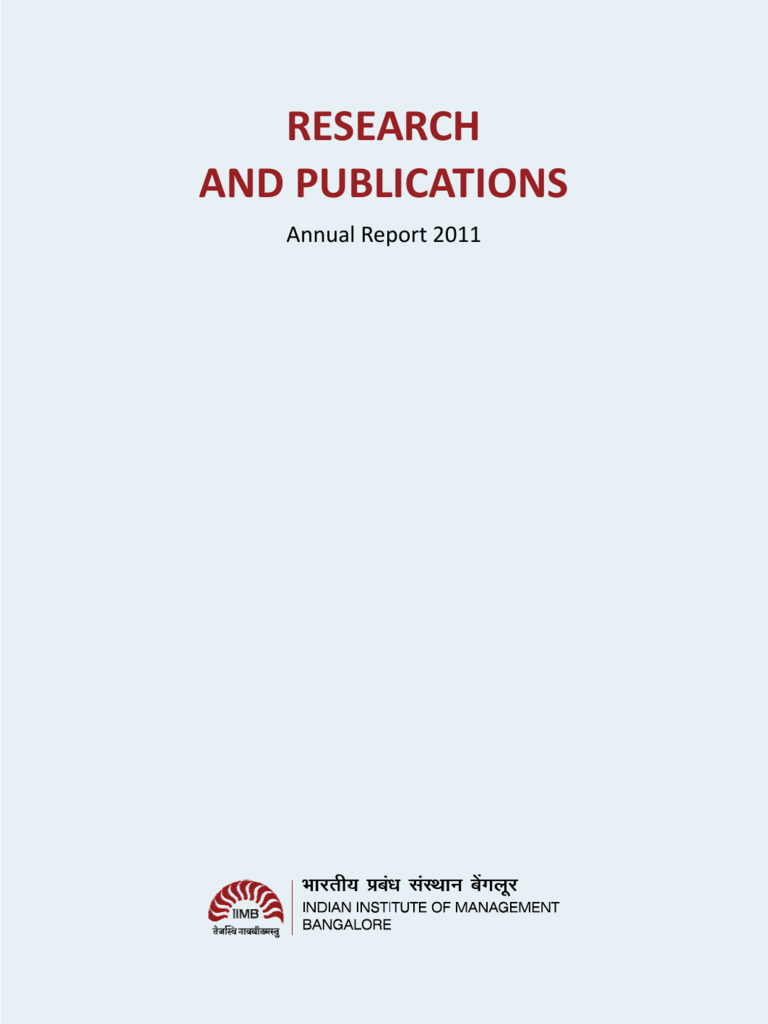 research and publications - Indian Institute of Management Bangalore