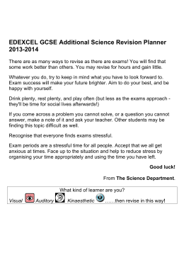 EDEXCEL GCSE Additional Science Revision Planner 2013-2014