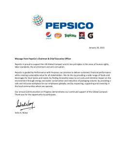 January 20, 2015 Message from PepsiCo's Chairman & Chief