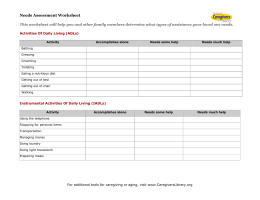 Needs Assessment Worksheet - National Caregivers Library