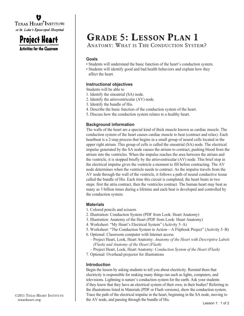 Grade 5: Lesson PLan 1 - Texas Heart Institute