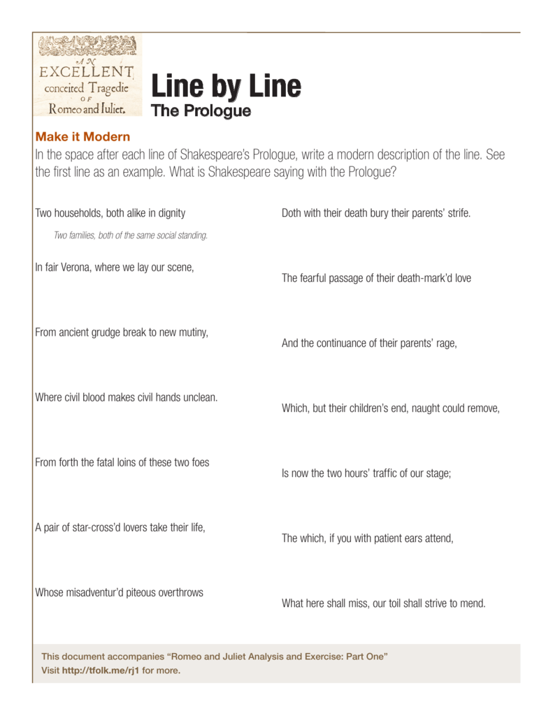 Romeo And Juliet Prologue Activity Meaning Line By
