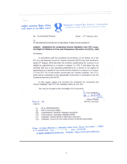 Guidelines for conducting Teacher Eligibility Test (TET)